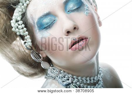 Holiday Make-up.Beautiful Woman's Face
