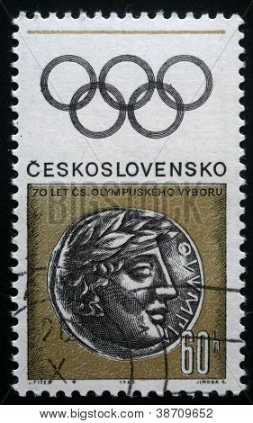 CZECHOSLOVAKIA CIRCA 1966: A stamp printed in Czechoslovakia dedicated to the seventieth anniversary of the Czechoslovakian Olympic Committee, circa 1966