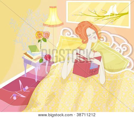 Bedtime Reading - Cute strawberry-blond girl in a romantic sunny bedroom, reading a book in bed
