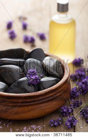 spa stones salt and lavender oil