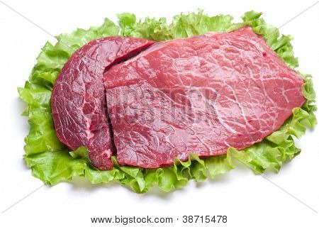 Raw meat on lettuce leaves. Isolated on white.