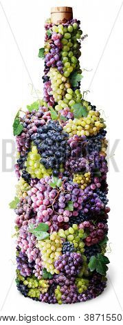 Bottle of wine made from grapes. White background.
