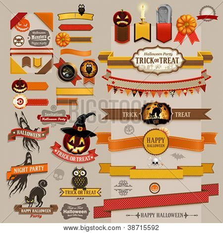 Set of Halloween retro ribbons - scrapbook elements. Vector illustration.