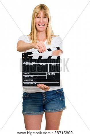 Happy Woman Holding Clapper Board On White Background