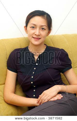 Sonriente chino Lady