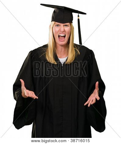 Angry Graduate Woman On White Background