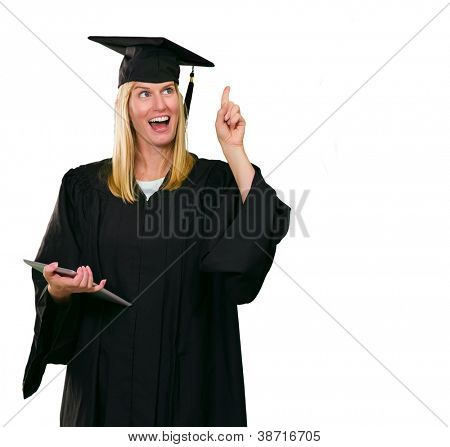 Graduate Woman Holding Digital Tablet Pointing Finger Upward On White Background