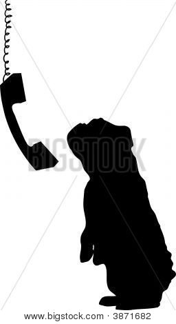 Bulldog With Phone Dangling Silhouette.