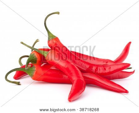 Hot red chili or chilli pepper isolated on white background cutout