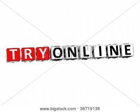 3D Try Online Button Click Here Block Text