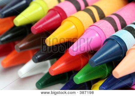 Closeup Shot Of Colorful Crayons