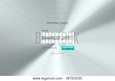 Login form page with metal  background