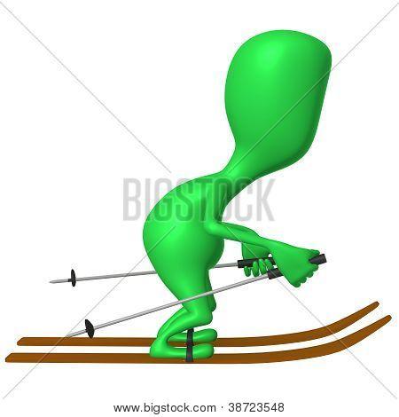 View Green Puppet Glide Through Snowy Mountine