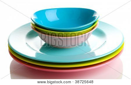 Colorful plates isolated on white