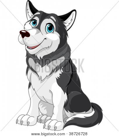 Cartoon illustration of Alaskan Malamute dog