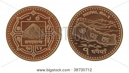 New Nepalese one rupee coin depicting Mont Everest and the map of Nepal. Obverse and reverse isolated on white.