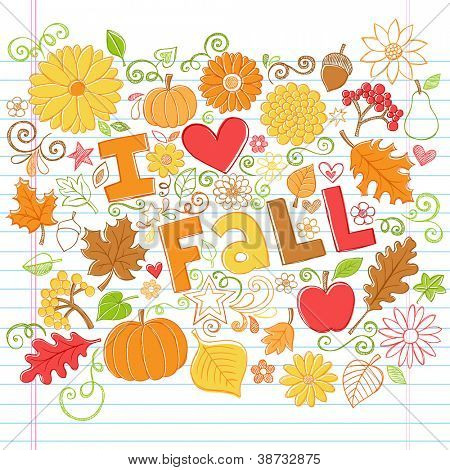 I Love Fall Back to School Style Sketchy Notebook Doodles with Pumpkins, Leaves, and Autumn Flowers- Hand-Drawn Vector Illustration Design Elements on Lined Sketchbook Paper Background