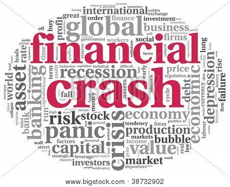 Financial crash concept in info-text graphics on white background