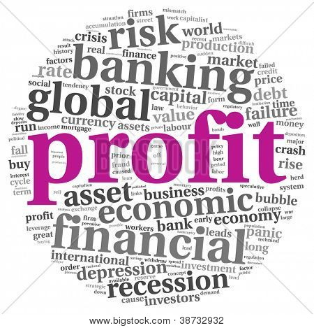 Profit and financial risk concept in info-text graphics on white background