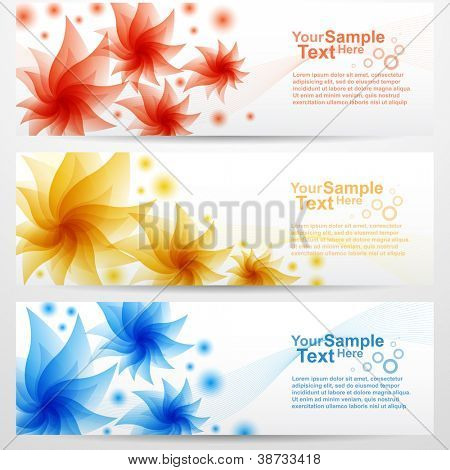 Set of flower banner background, vector