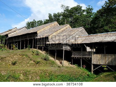 Traditional Borneo Longhouse in Sabah, Malaysia