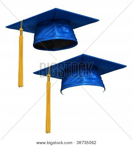 3D Render Of Blue Graduation Cap