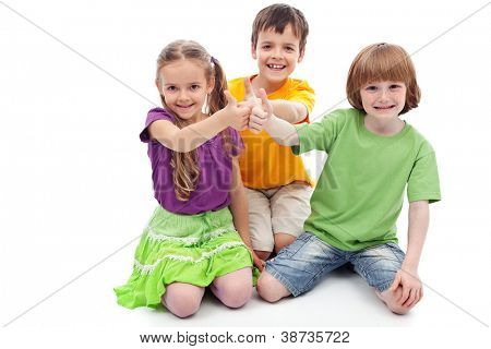 Childhood friends collaboration concept - kids showing thumbs up sign, isolated
