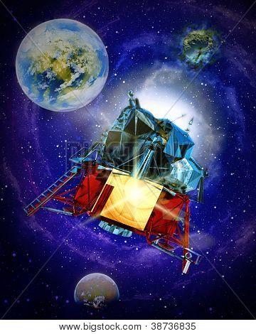 Sattelite travelling through galatic space