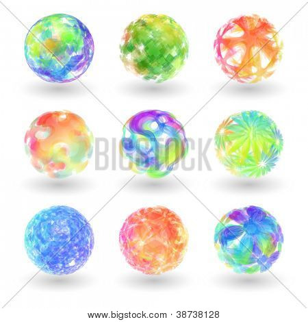 Abstract globe set. Vector illustration.
