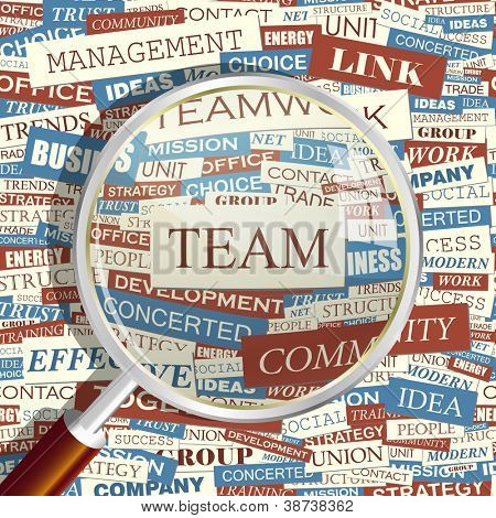 TEAM. Seamless word collage. Vector illustration.