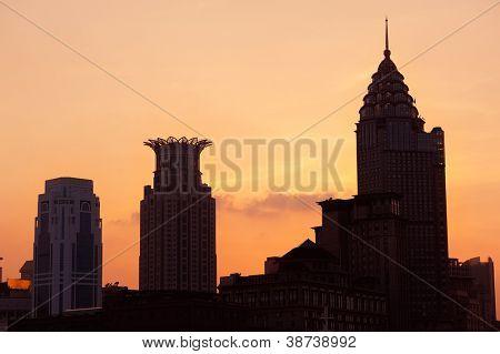 Shanghai Waitan district with historic buildings silhouette