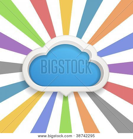 Speech cloud template with the color rays. Ready for a text
