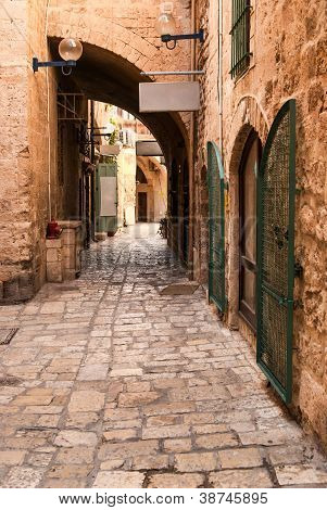 A Narrow Street In Historic Jaffa , Israel