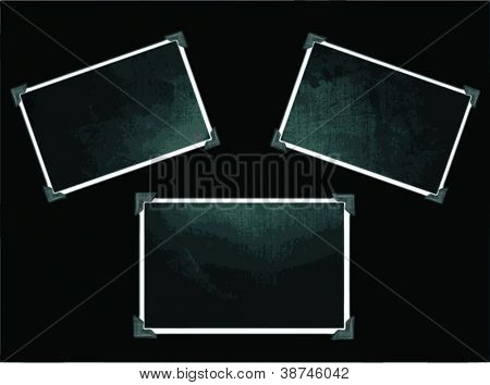 Vector vintage photo frames with corners on black - 3 frames