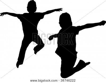 Vector Silhouette of two boys jumping up in the air