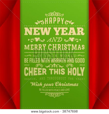 Curled corner paper for Christmas invitation. Vector Illustration. Merry Christmas and Happy New Year