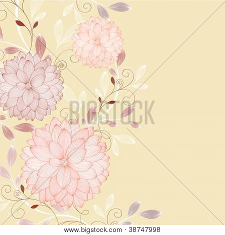Hand-drawing floral background with flower dahlia. Element for design. Vector illustration.