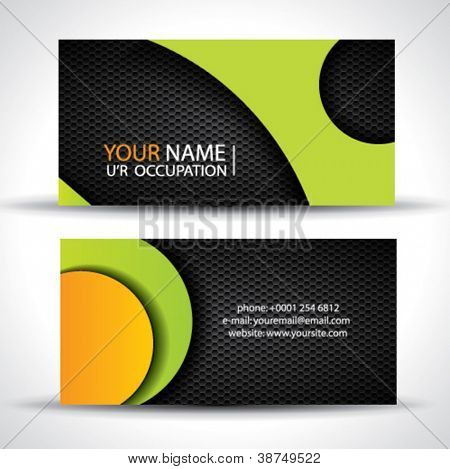 Modern vector business card - green, orange and black colors