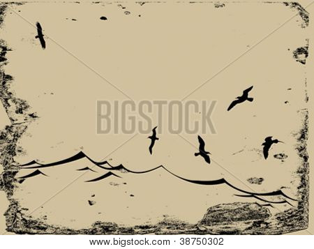 sea gulls silhouette on grunge background, vector illustration