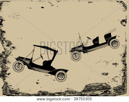 retro car on grunge background, vector illustration
