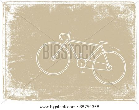 bicycle silhouette on grunge background, vector illustration
