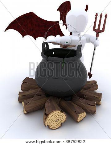 3D render of deamon with cauldron of eyeballs on log fire
