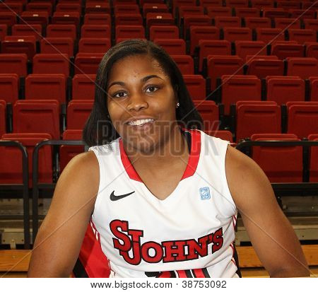NEW YORK-OCT. 23: St. John's Red Storm forward Mary Nwachukwu during media day on October 23, 2012 at Carnesecca Arena, Jamaica, Queens, New York.