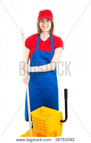 Happy, smiling teenage girl in a work uniform, with a mop and bucket.  Isolated on white.