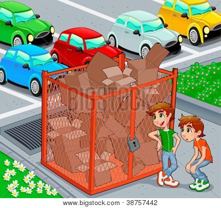Twins are near a recycling cage.  Vector and cartoon illustration.