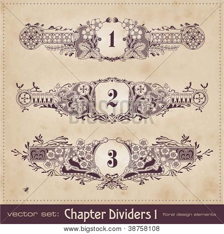 hand-drawn floral chapter dividers - set 1
