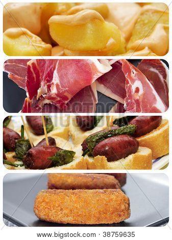 a collage of different spanish tapas, such as patatas bravas, pinchos de chorizo, jamon serrano or croquettes