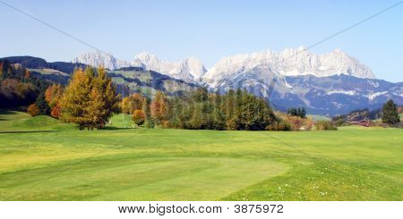 Grassland And Mountains At Kitzbuhel  Austria