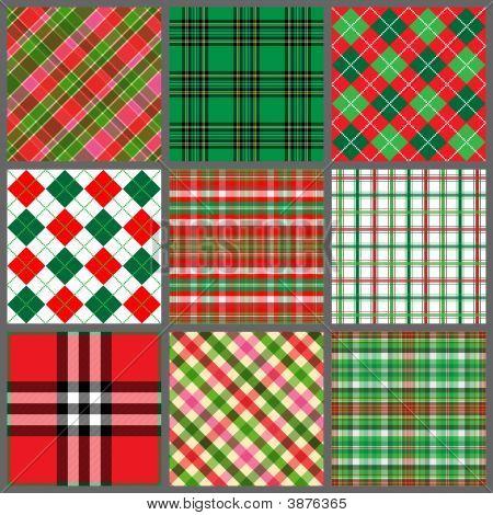 Set Of Christmas Plaids