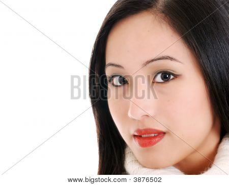 Close Up Young Oriental Woman On White